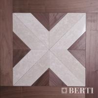 Berti Parquet Artistici: Disegni Mod Foscarini su Noce Americano e marmo Botticino - Berti Pavimenti Legno