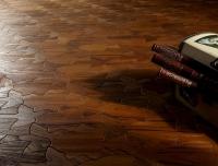 Berti Artistic Parquet: Natural Diorama Laser Inlay with Teak - Berti Wooden Floors - Inlaid Parquet