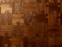 Berti Artistic Parquet: Puzzle Laser Inlay with Teak - Berti Wooden Floors - Inlaid Parquet