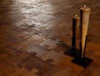 Berti Artistic Parquet: Puzzle Laser Inlay with Teak - Berti Wood Flooring