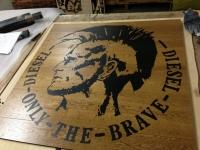 03 - Berti Pavimenti Legno - Work in progress - Parquet artistici intarsi per parquet logo Diesel