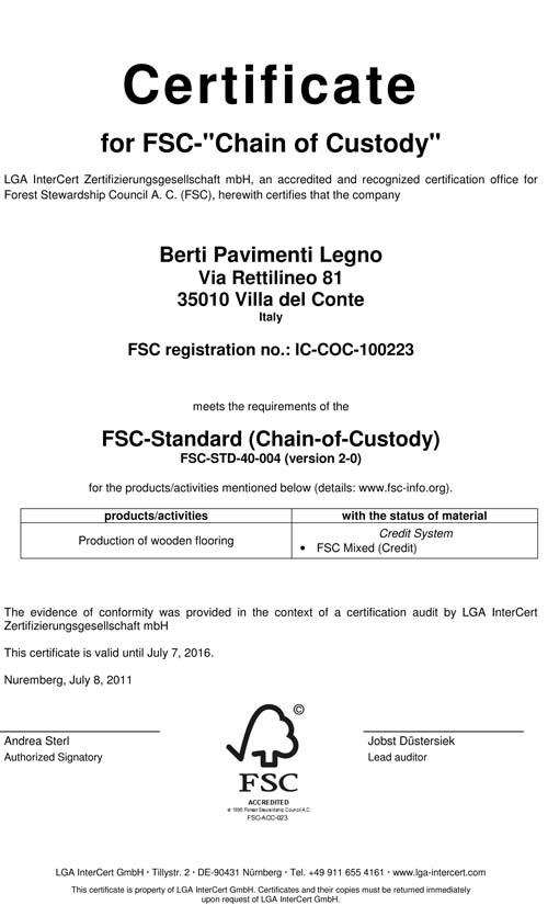 La Certificazione della catena di custodia di Berti