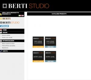 schermata BertiStore: prodotti BertiStudio