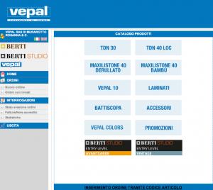 schermata BertiStore: prodotti Vepal
