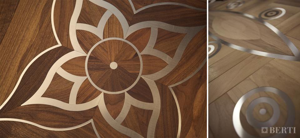 Berti parquet intarsio legno acciaio